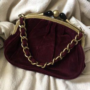 J. Crew Chain strap Velvet Clutch Handbag